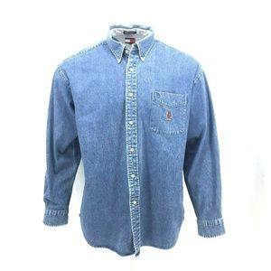 Vintage 90s Tommy Hilfiger Mens Denim Shirt Sz Lg